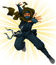 Cartoon ninja jumping in the air Royalty Free Stock Photos