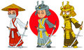 Cartoon ninja samurai with sword characters set