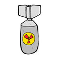 Cartoon nuclear bomb hand drawn illustration in retro style vector available Stock Images