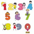Cartoon numbers and children Stock Images