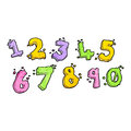 Cartoon numbers retro with texture isolated on white Royalty Free Stock Images