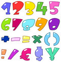Cartoon numbers and signs Stock Photo