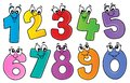 Cartoon numbers theme set 1 Royalty Free Stock Photo