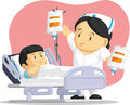 Cartoon of nurse helping child patient a vector image a female a boy with his iv drip drawn in style this vector is very good for Stock Image