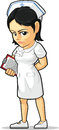 Cartoon of nurse a vector image a standing confidently while holding the patients data drawn in style this vector is very good for Stock Photography