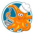 Cartoon octopus chef Royalty Free Stock Photo