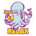 Cartoon octopus with coffee cup, book and just relax lettering. Hand drawn vector colorful isolated illustration for modern design