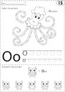 Cartoon octopus and owl. Alphabet tracing worksheet: writing A-Z
