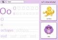 Cartoon octopus and owl. Alphabet tracing worksheet