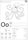 Cartoon octopus, owl and onion. Alphabet tracing worksheet: writ