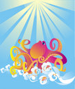 Cartoon octopus, vector illustration Stock Images