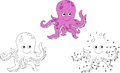 Cartoon octopus. Vector illustration. Coloring and dot to dot Royalty Free Stock Photo