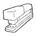 Cartoon office stapler black and white line in retro style vector available Stock Photo