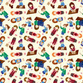 Cartoon office woman worker seamless pattern Royalty Free Stock Image