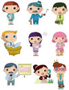 Cartoon office worker icon Stock Images