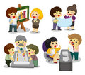 Cartoon office worker icon set Stock Photography