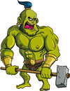 Cartoon ogre with a big hammer Royalty Free Stock Images