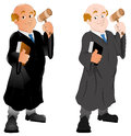 Cartoon old judge character holding hammer with law book vector illustration Stock Photo