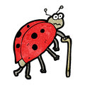 Cartoon old ladybug retro with texture isolated on white Stock Image