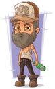 Cartoon old sad homeless man Royalty Free Stock Photo