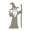 Cartoon old wizard hand drawn illustration in retro style vector available Stock Photography