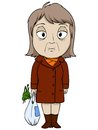 Cartoon old woman in brown coat sad mood vector illustration Stock Photo