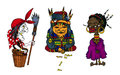 Cartoon old women characters from fairy tales all over the world