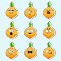Cartoon onion cute character face sticker.