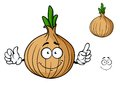 Cartoon onion vegetable character with happy smiling face and separate elements isolated on white background Royalty Free Stock Photography