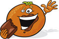 Cartoon orange eat chocolate Royalty Free Stock Photo