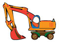 Cartoon orange excavator isolated on white background Stock Photo
