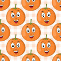 Cartoon Orange Fruit Seamless ...