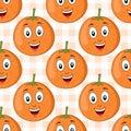 Cartoon Orange Fruit Seamless ...