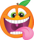 Cartoon orange funky fruit character with wide smile and teeth exposed for flavored fruit candy or drink Stock Photos