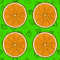Cartoon orange with green leaves backdrop, seamless pattern