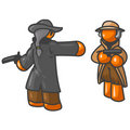 Cartoon of orange men dueling Stock Image