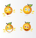Cartoon oranges a set of happy Royalty Free Stock Photos