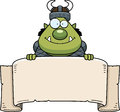 Cartoon orc banner a illustration of an with a Royalty Free Stock Photos