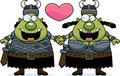 Cartoon orc couple a illustration of an holding hands and in love Stock Photo