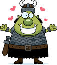 Cartoon orc hug a illustration of an ready to give a Royalty Free Stock Image