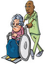 Cartoon of an orderly pushing an old lady Stock Photography