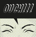 Cartoon ouch pop art illustration exclamation used to express pa pain poster paper card Stock Images