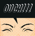 Cartoon ouch pop art illustration exclamation used to express pain poster Royalty Free Stock Photo