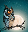 Cartoon owl and full moon sitting on a branch in the night starry sky with Stock Photography
