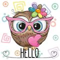Cartoon Owl in a pink glasses with heart
