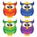 Cartoon owl set of four cute owls Stock Photography