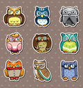 Cartoon owl stickers Stock Images