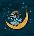 Cartoon owl and yellow month sleepy sitting on a on a starry night sky background Stock Images