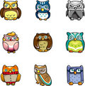 Cartoon owls icon Stock Photography