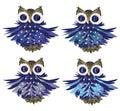 Cartoon owls set eps file Stock Image